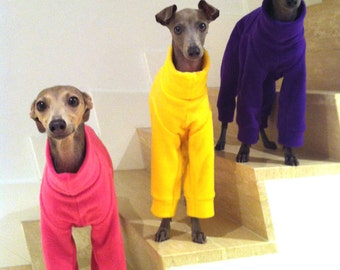Plain Colour Fleece Italian Greyhound Jammies/Pajamas/Snowsuit Pink, Purple, Red, Orange, Yellow and more - IMPORTANT - see item details