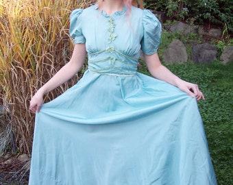 Amazing Aqua 1930s Maxi Dress