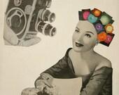 Retro Art Print, Paper Collage Print, Vintage Camera Art, Actress Art, Rainbow Art, Mid Century Modern