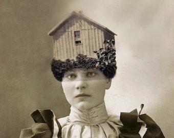 Surreal Collage Art, Victorian Woman, House on Head, Avant Garde Art, Vintage Photography, Mixed Media Print
