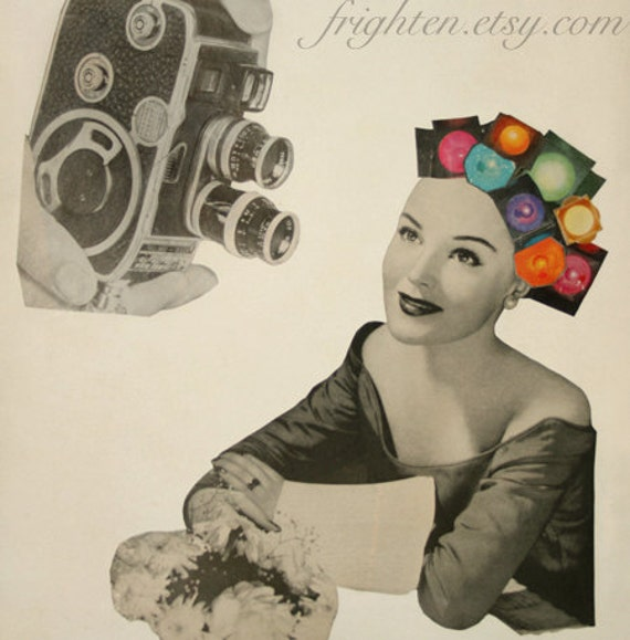 Retro Art Print, Paper Collage Print, Vintage Camera Art, Surreal Art, Film Art, Actress, Rainbow Art, Mid Century Modern