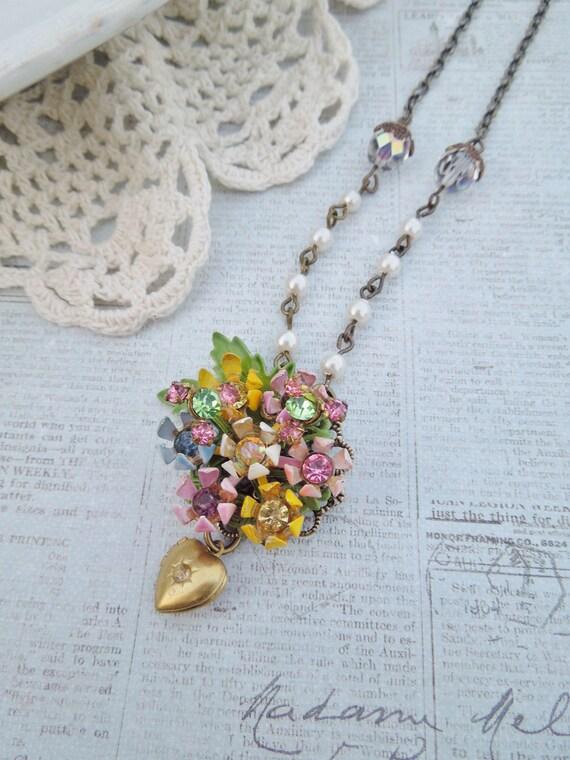 Flower Fields - Vintage Assemblage Necklace - Vintage Enamel Flower Pendant, Repurposed, Upcycled Vintage Jewlery, Pastal OOAK