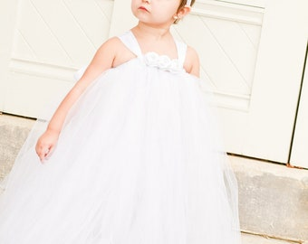 White Tutu Flower Girl Dress Satin Ribbon Rose Adornment for Flower Girls, Weddings, Bridal, Special Occasions