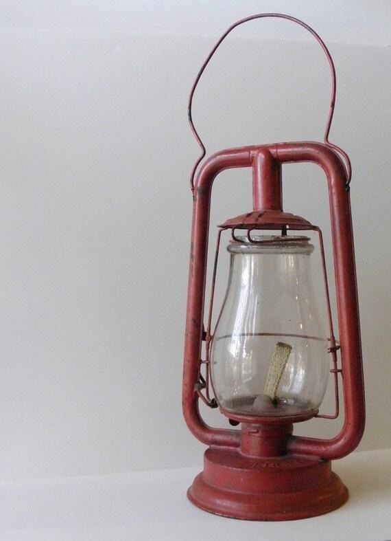 Antique Lantern - Berger Patented Lantern - Red Lantern - Christmas Lantern - Rustic Christmas