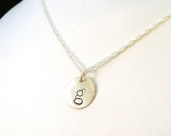 Lowercase Letter Necklace / Letter Jewelry / Personalized Letters Necklace / Gift for Her / Silver Initial Jewelry / Hand Stamped Jewelry