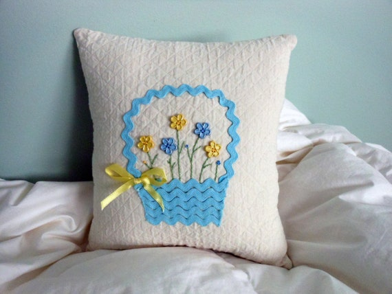 Decorative Spring/ Easter Pillow Blue And Yellow Flower