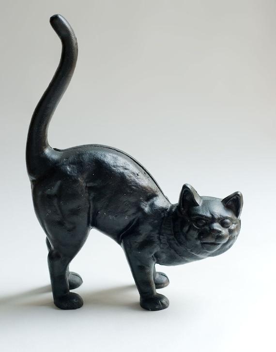 Salevintage cast iron black cat doorstop scary halloween - Cast iron cat doorstop ...