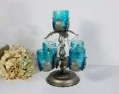 Table centerpiece / wedding centerpiece / Crystal candelabra / Crystal candle holder / candle holder / Turquoise glass votive / upcycled