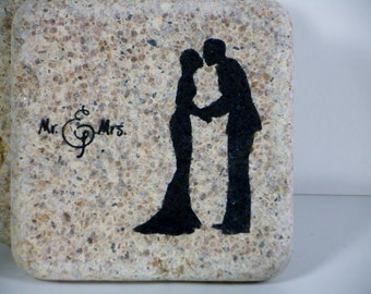 Stone coaster, mr and mrs, bride and groom, set of 4 rustic earthy coasters