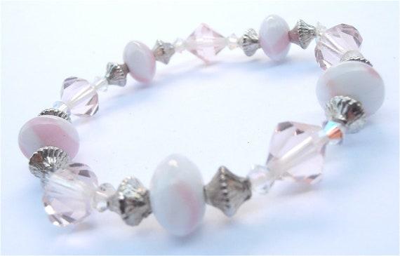 Handmade Pink Stripe Bracelet Candy Stripe Bracelet Pink Crystal Bracelet White Crystal Bracelet Pink Bead Bracelet White Bead Girls Bracele