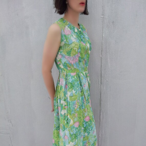 Green Fit and Flare Day Dress 1950s Vintage Pink Floral Sundress Box Pleat Full Skirt Medium 1960s Day Dress Spring 50s Garden Party Dress