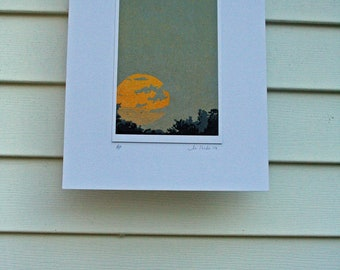 African Sunset, Hand Pulled, Limited Edition