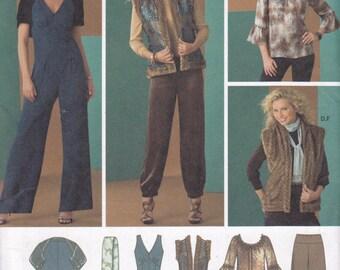 Simplicity 2476 Sizes 4 6 8 10 12 misses jumpsuit pants top reversible vest shrug scarf uncut OOP sewing pattern