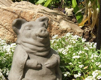 MEDIUM MEDITATING PIG Solid Stone Garden Buddha Animal Sculpture