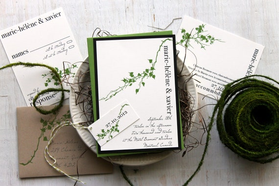 "Modern Garden Botanical Green Branch Wedding Invitations with Baker Twine & Taupe, Customizable Woring, Fonts, Inks - ""Modern Garden"" Sample"