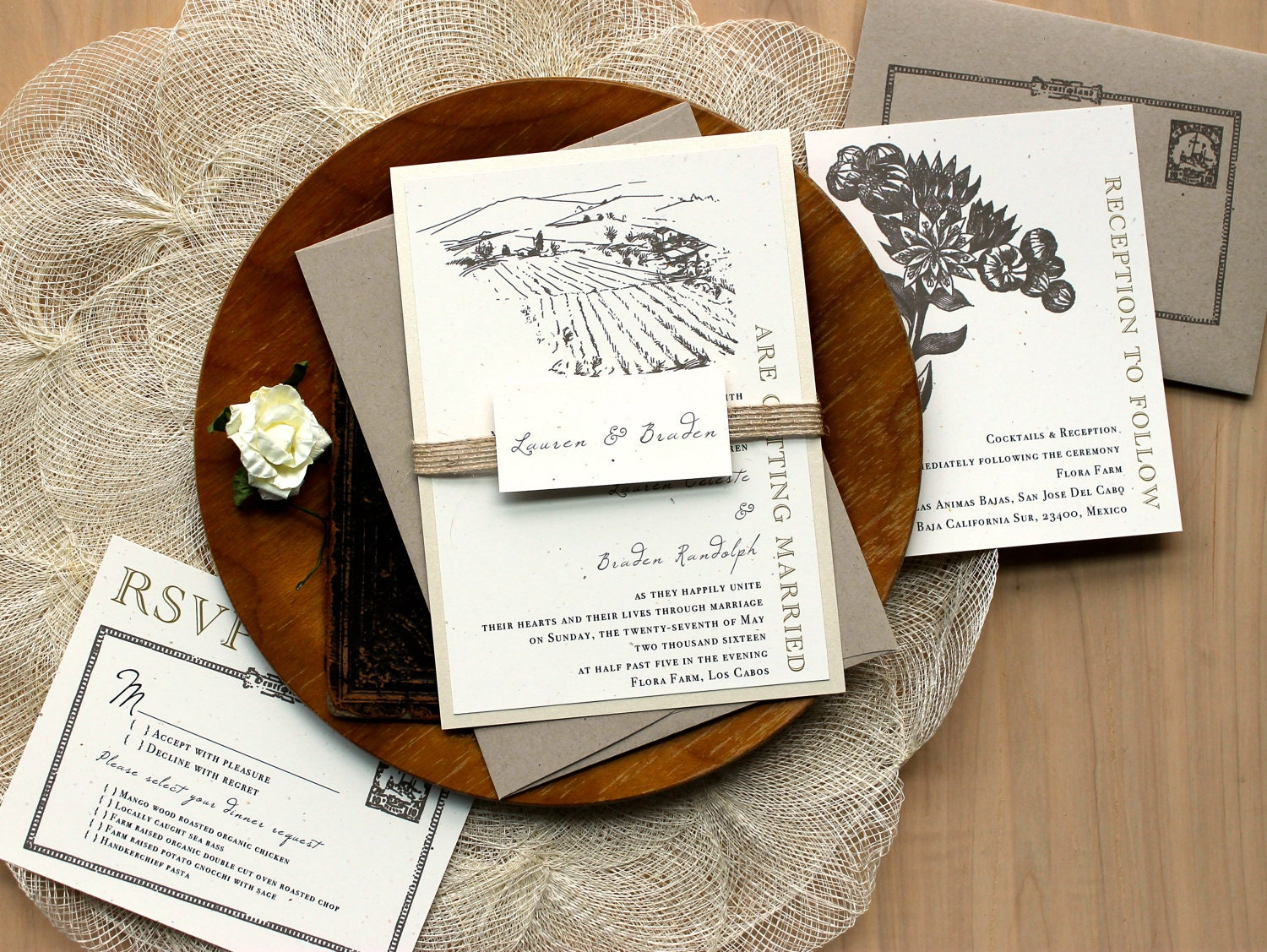 Wedding Invitations With Burlap: Rustic Burlap Wedding Invites As Seen In The Meryl Streep