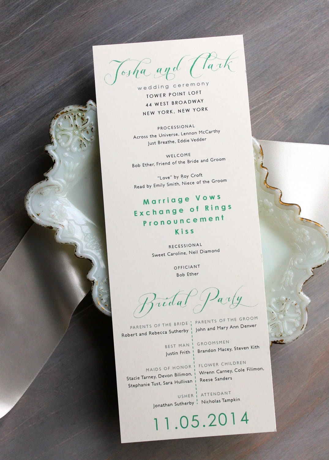 Mint Script Modern Wedding Ceremony Programs Mint Wedding