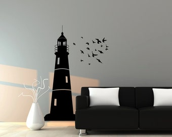 Lighthouse Wall Decal with Flock of Birds - Nautical Wall Decor - Great for Kids - WD0156