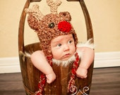 Baby Reindeer Hat with Ear Flaps--Crocheted Rudolf--Perfect Newborn Photo Prop