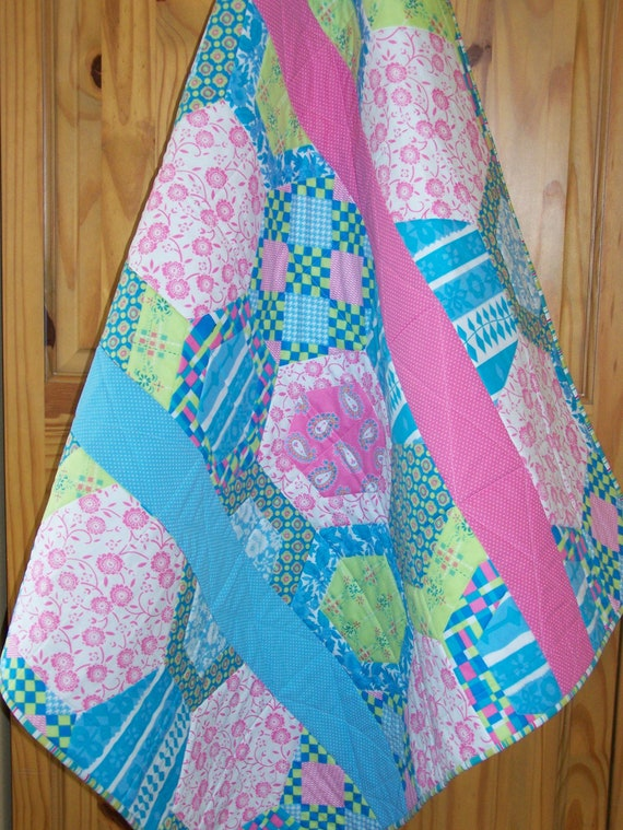 "Handmade Baby Toddler Quilt ""Bubble Gum"" in Pink Aqua LIme White Girl Blanket Myra Barnes Busy Hands Quilts"