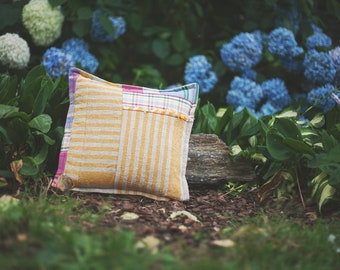"""Striped Linen Pillow- Nubby Linen with Yellow Stripes- 14"""" Square"""