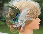 Peacock Birdcage Veil-Large Jewel Fascinator, Wedding Headpiece