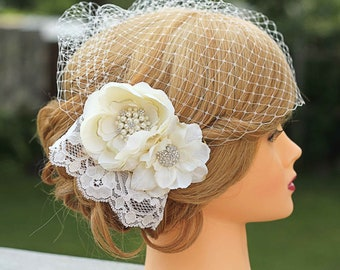 Lace Wedding Fascinator-Birdcage Veil- Flowers and Lace- Fascinator Wedding Headpiece