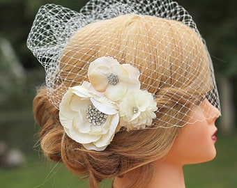 Ivory Birdcage Veil- Ivory Flower Fascinator- Wedding Headpiece-Available in Ivory or White