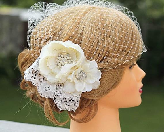 Lace Wedding Fascinator-Birdcage Veil- Flowers and Lace- Fascinator Wedding Headpiece
