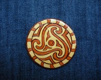 Fibonacci spiral ceramic magnet,Sacred Geometry,Original Folk Art Painting,Ceramics of Cucuteni culture,Geometry Art Sacred Spiritual