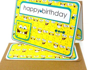 CLEARANCE- Spongebob B Day Card with Matching Embellished Envelope