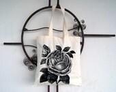 Floral Tote Bag: Vintage Rose Flower Screen Print - SamsaraPrints
