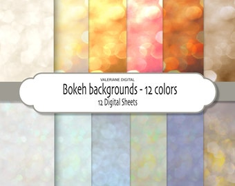 Bokeh Photo Texture Overlay pack in 12 colors, bokeh digital backgrounds - 12 jpg files 12x12 - INSTANT DOWNLOAD Pack 280