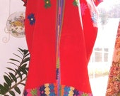 Vintage Folk Art Huipil Poncho Heavier Warm Fabric Amazing Colors