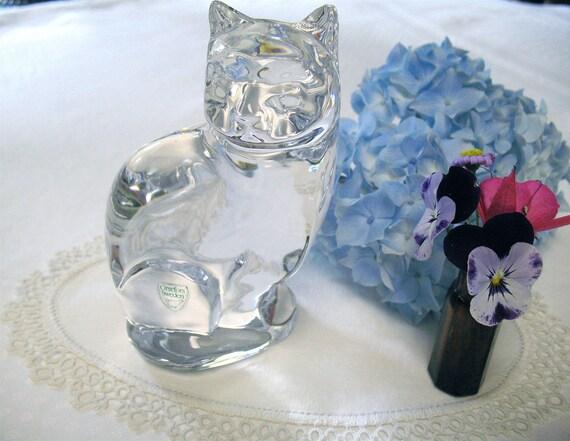 "Cat FIgurine  - Orrefors Sweden  - 5"" Tall - Mint -"