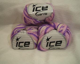 Ice Yarn Frilly Ruffle Scarf yarn for Knitting Lilac Pink Cream striped ruffle yarn