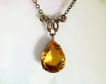 Topaz Yellow Necklace Vintage 50's West German Topaz Gold Glass Rhinestone New OX Brass Setting, Connector and Chain November Birthstone