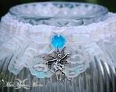 Enchanted Fairy Blue Wedding Garter, Iridescent White Lace, Hand Fasting, Bridal Garter, Wicca Fantasy, Blue Crystal Prism