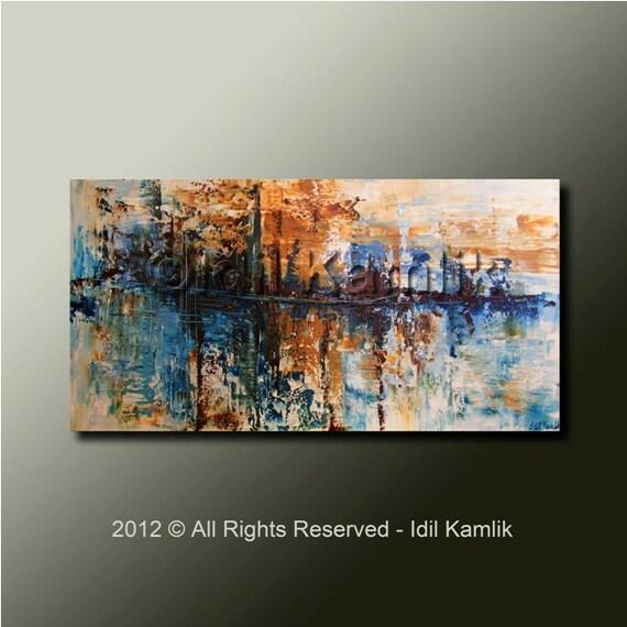 Modern Abstract Original PAINTING Contemporary Textured  Fine Art by Idil Kamlik