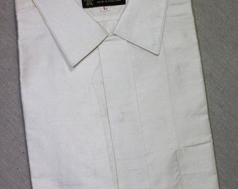 vintage 50's - 60's Men's short sleeve shirt with button loop collar. 'New Old Stock'. Luminescent White Dupioni Silk. Medium - Large