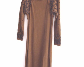 Vintage Brown Embroidered Beaded  Dress