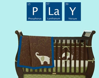 PLAY vinyl wall decal- periodic table of element- nursery, daycare, sticker art, room, home and business decor