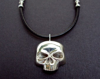 Mens skull necklace on leather