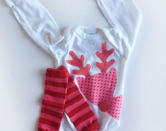 Rudolph Peeking Reindeer Christmas One Piece with Hand Dyed Baby Leg Warmers Girl Pink Red