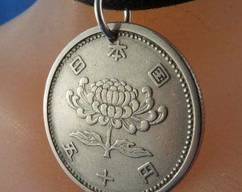 japanese coin jewelry .chrysanthemum flower COIN NECKLACE .JAPAN. 50 yen. festival of happiness . vintage coin jewelry  No.001145 -1