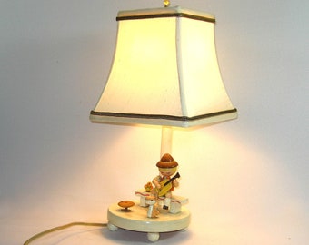 Vintage Nursery Lamp  Childs Wood 1970s Our Handmade Shade