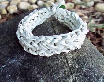White Bangle Bracelet Made w/ Rubber Bands - Unique Stretch Band Rubber Bracelet