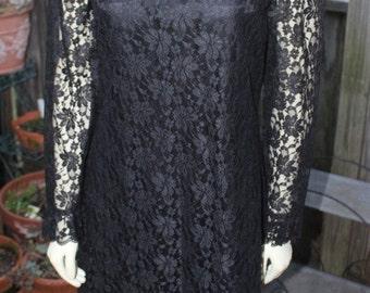SALE - Gorgeous 60s - Vintage Lace Little Black Dress - Marek New York - Designer
