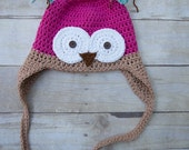 Pink and Tan Crochet Owl Beanie-  Size 2-3T Ready to Ship