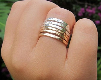 Sterling Silver Rings, Set of 3, Stacking, Hammered, Simple Bands, Handmade, Textured, Metalwork, Minimalist Jewelry, Stack Ring, Gift Idea